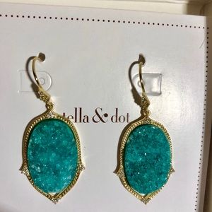 Stella & Dot Retired Green Druzy Earrings